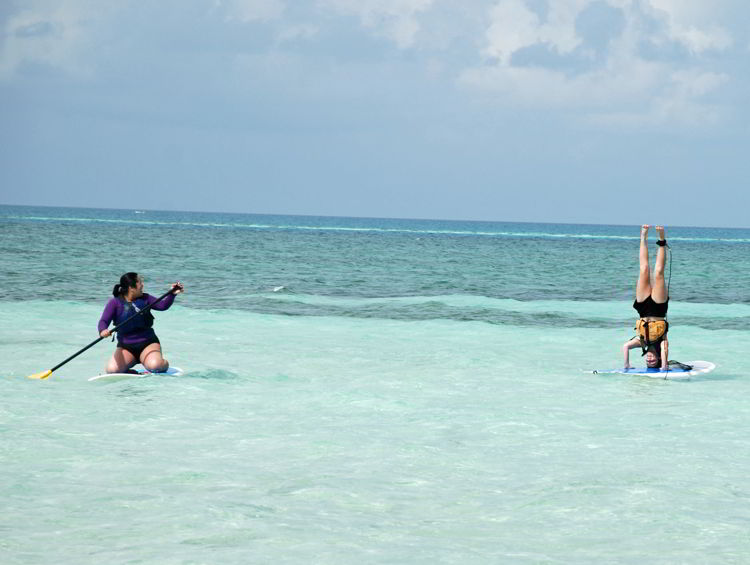 An image of a woman doing a headstand on a stand up paddleboard. - yoga retreat costa rica