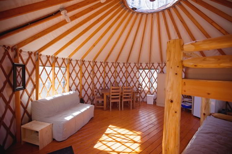 An image of the interior of a yurt at Pigeon Lake Provincial Park in Alberta, Canada.