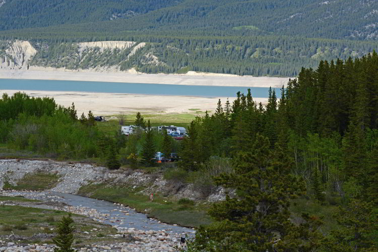 An image of some campsites at the far end of Abraham Lake in Alberta, Canada.