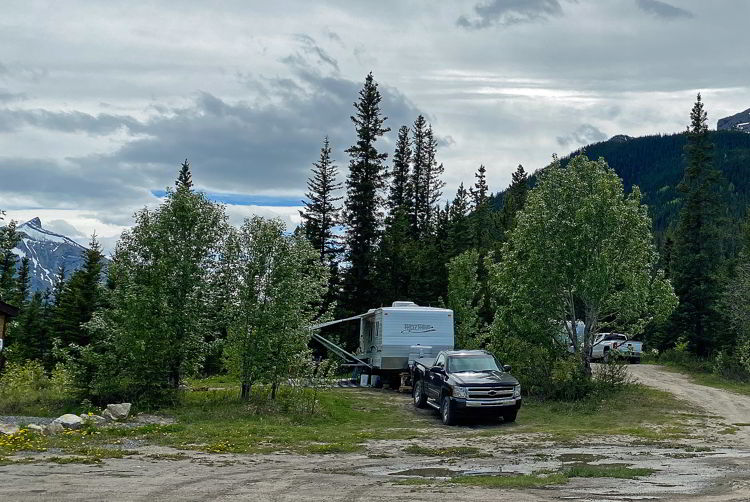 An image of a trailer camping near Abraham Lake in Alberta, Canada.