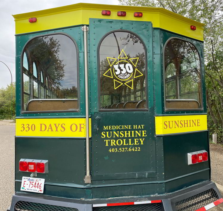 An image of the back of the sunshine trolley in Medicine Hat, Alberta, Canada.