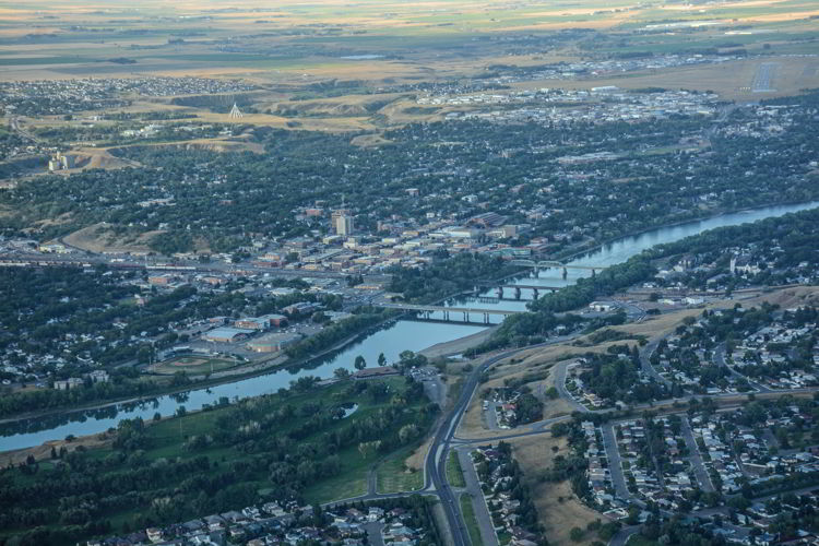 An aerial shot of the city of Medicine Hat, Alberta, Canada.