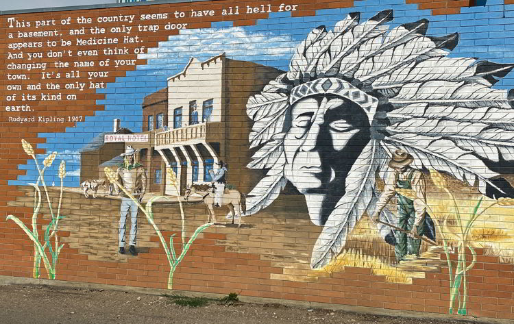An image of a painted mural in Medicine, Hat, Alberta, Canada.