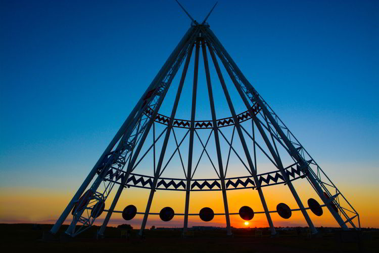 An image of the Saamis Tepee at sunset in Medicine Hat, Alberta, Canada.