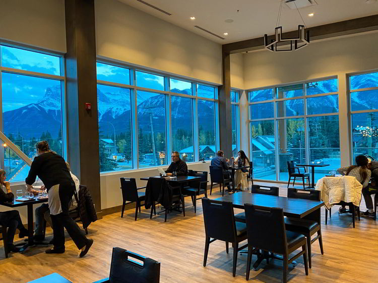 An image of the dining room at the Sensory Restaurant in Canmore.
